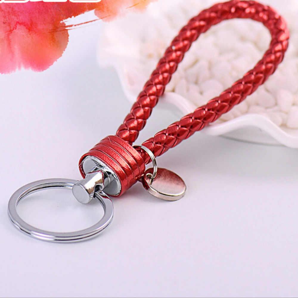 Многоцветный Плетеный кожаный шнур брелок металлические брелки для любителей подарок на день рождения брелок с кольцом для ключей брелки высокое качество