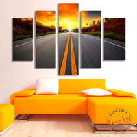 Racing With The Sun 5pcs Sunset Canvas Prints Painting Highway Landscape Painting Modern Canvas Art Picture