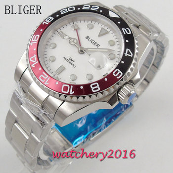 40mm Bliger White Dial Luminous Hands Round Sapphire Crystal Stainless steel GMT Automatic Movement mens Mechanical Wristwatches