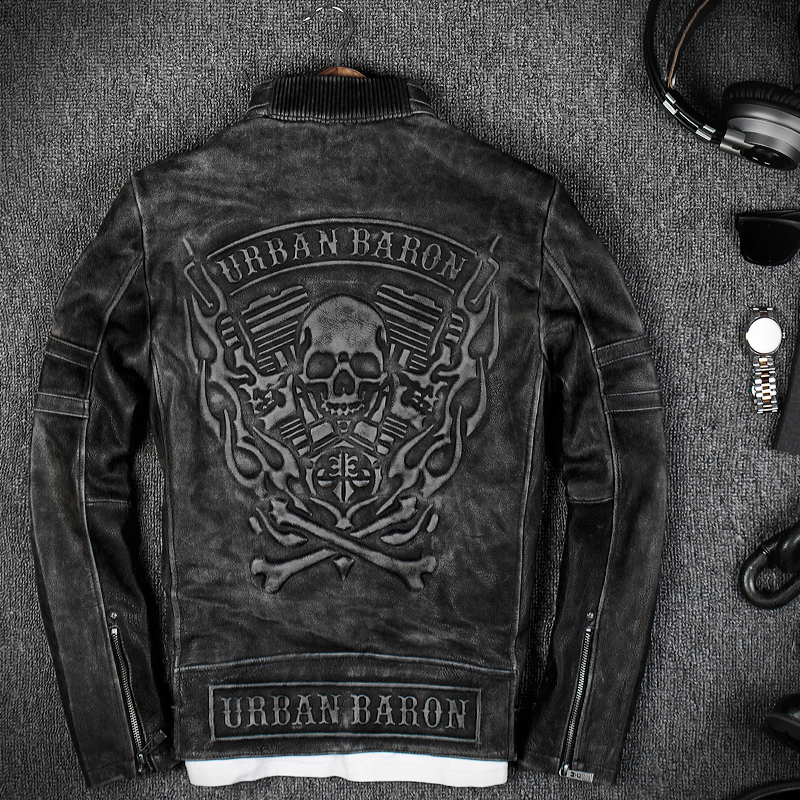 009239dea9d 2019 Vintage Black Men s Skull biker Leather Jacket Plus Size XXXL Genuine  Cowhide Slim Fit Motorcyclist Jacket FREE SHIPPING-in Genuine Leather Coats  from ...