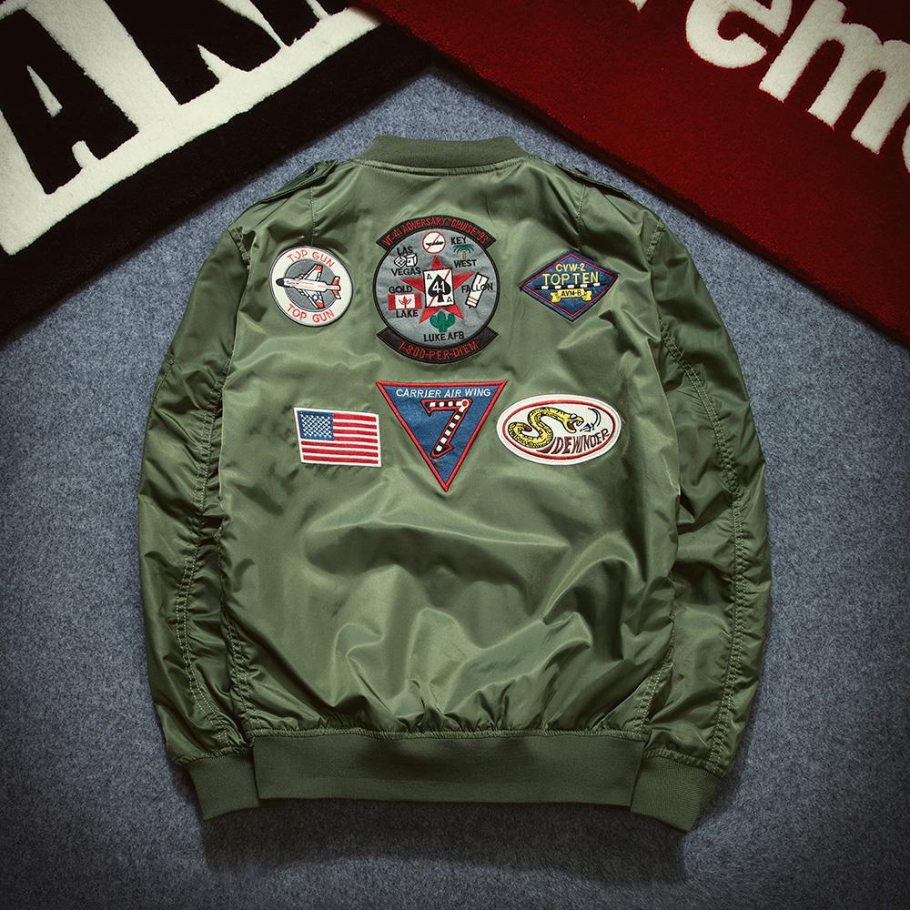 Nike jacket army - Mens Ma1 Bomber Jacket 2017 New Man Winter Parkas Cotton Men Fashion Long Sleeve Pilot Windbreaker