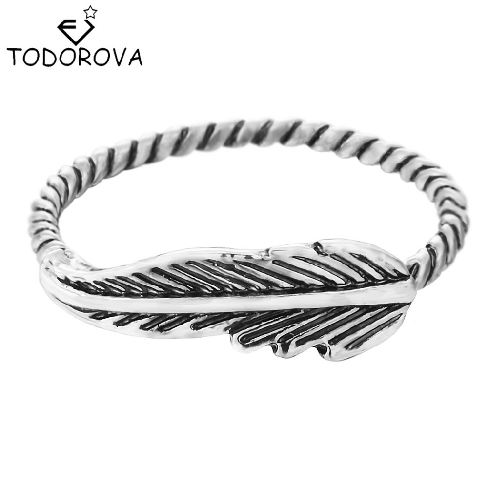 Todorova Style Retro Feather Shaped Statement Finger Rings for Women Party Wedding Band Vinage Jewelry