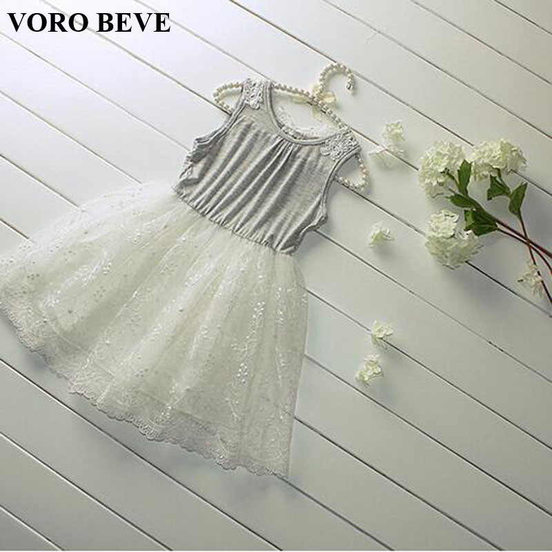 VORO BEVE New 2017 Summer Girl Dress Sweet Girls Kids Lace Princess Sleeveless Cotton Grey Dress Children Clothing