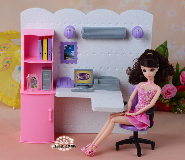 New office computer study With lights play set 30cm doll accessories for barbie doll girls play house toys birthday gift