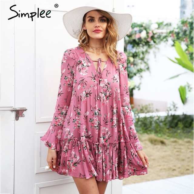 d9f98dd00d92 Simplee Lace up floral print dress women Long sleeve ruffle loose short  dress 2018 Spring casual
