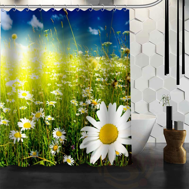 Best Nice Custom Beautiful Daisies Shower Curtain Bath Curtain Waterproof  Fabric Bathroom MORE SIZE WJYu002664(