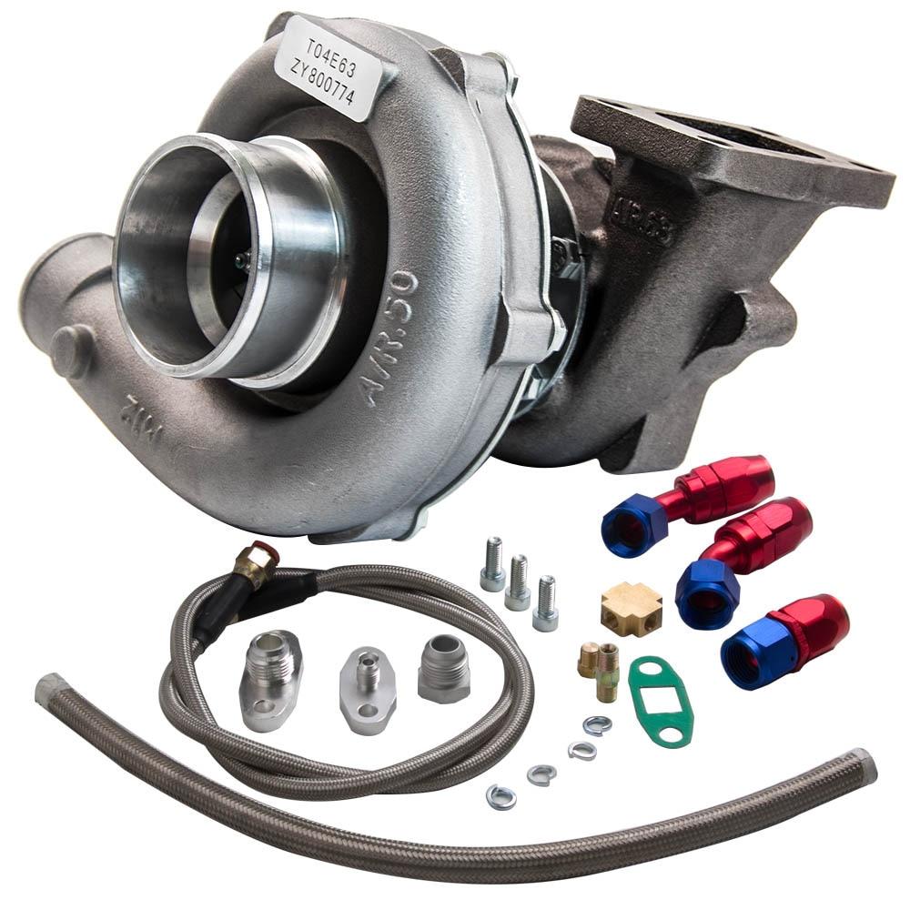 T3/t4 t04e. 57 a/r desempenho turbocompressor + óleo feed & retorno linha kit 300 + hp óleo de refrigeração turbo para 1.6 2.5l wastegate interno - 5