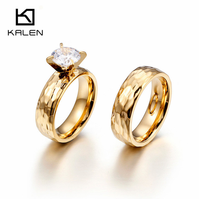 Kalen Lovers Wedding Bands Cubic Zirconia Rings Gold Stainless Steel