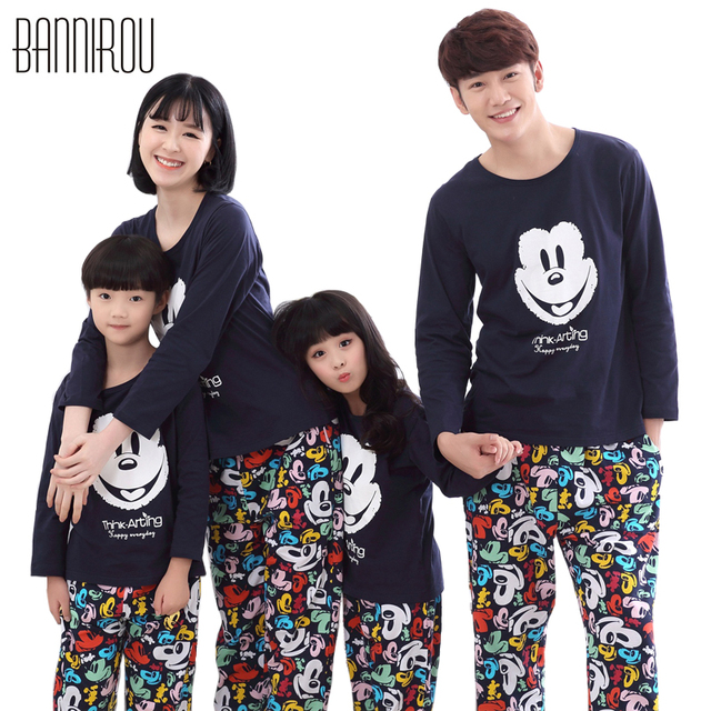 fd15431248e5 Spring Family Pajamas Sets 100% Cotton Mickey Cartoon Full Colorful Cure  Lovely Soft Home Clothing