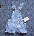 6 M - 36 M guardapolvos del bebé 2016 del verano del bebé marca pantalones de mezclilla vaqueros azules mono para los niños pantalones cortos pantalones para niñas y los niños