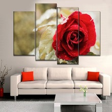 Framework Wall Art Canvas Poster Home Decor Living Room Modern 4 Panel Bright Red Roses HD Print Painting Modular Style Pictures