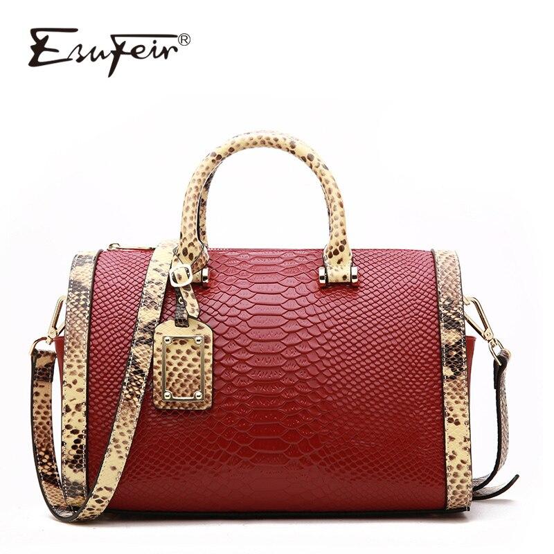 2018 ESUFEIR Genuine Leather Boston Bag Handbag For Women Serpentine Embossed Shoulder Bag Casual Tote Large