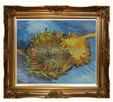 Two Cut Sunflowers by Vincent Van Gogh Handpainted