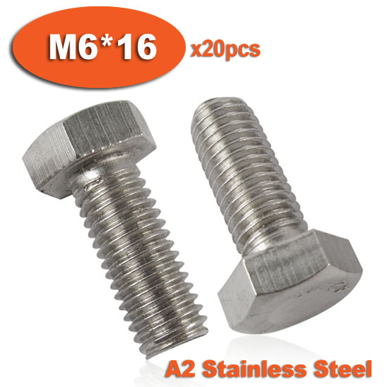 US $8 4 |20pcs DIN933 M6 x 16 Fully Threaded Stainless Steel Bolts A2  Hexagon Hex Head Bolt Set Screw Setscrews-in Bolts from Home Improvement on