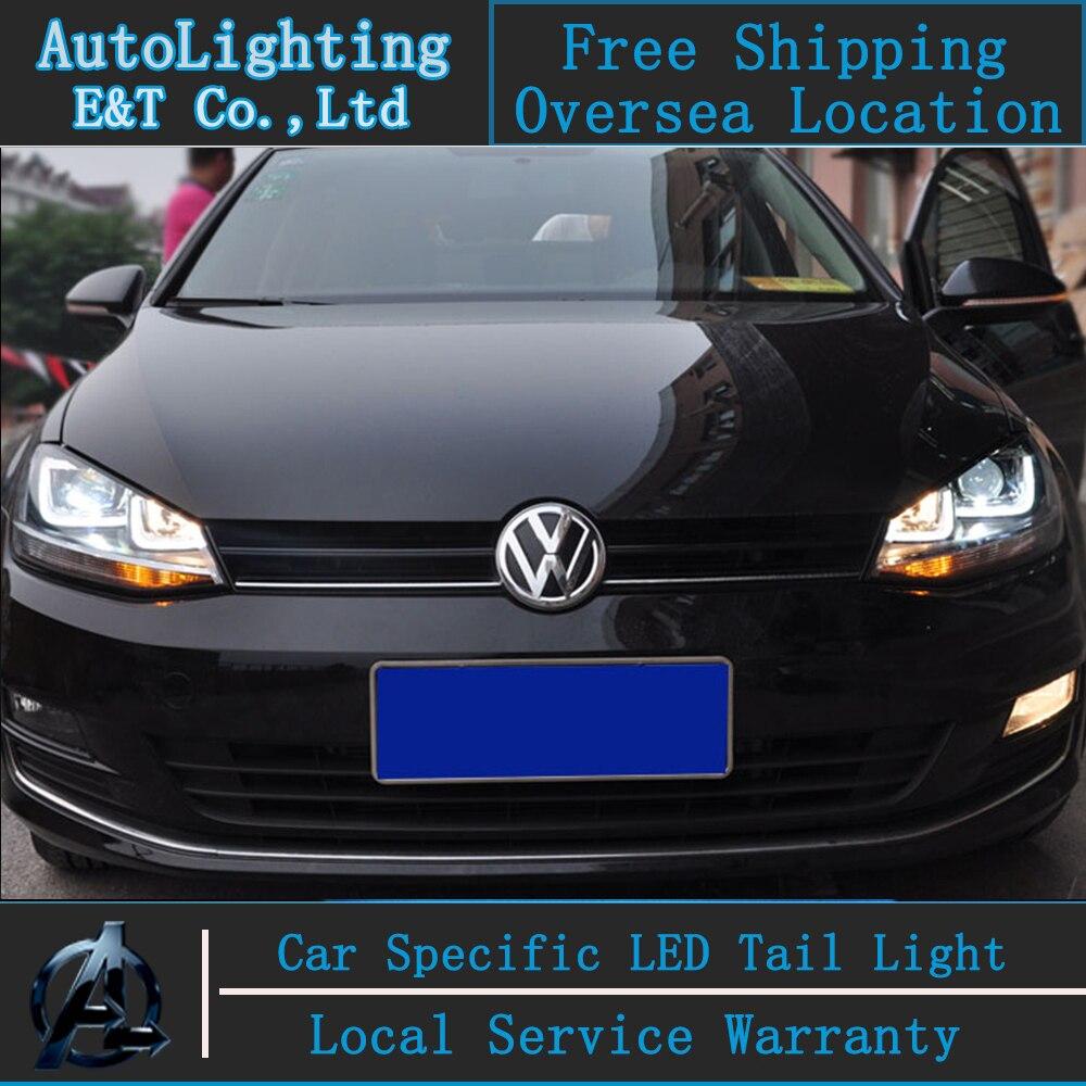 Стайлинга автомобилей VW Гольф 7 фары сборки 2013-2014 golf7 автомобиль светодиодные фары головного ГИТ лампы глаза Ангела Сид DRL H7 с HID комплект 2 шт.