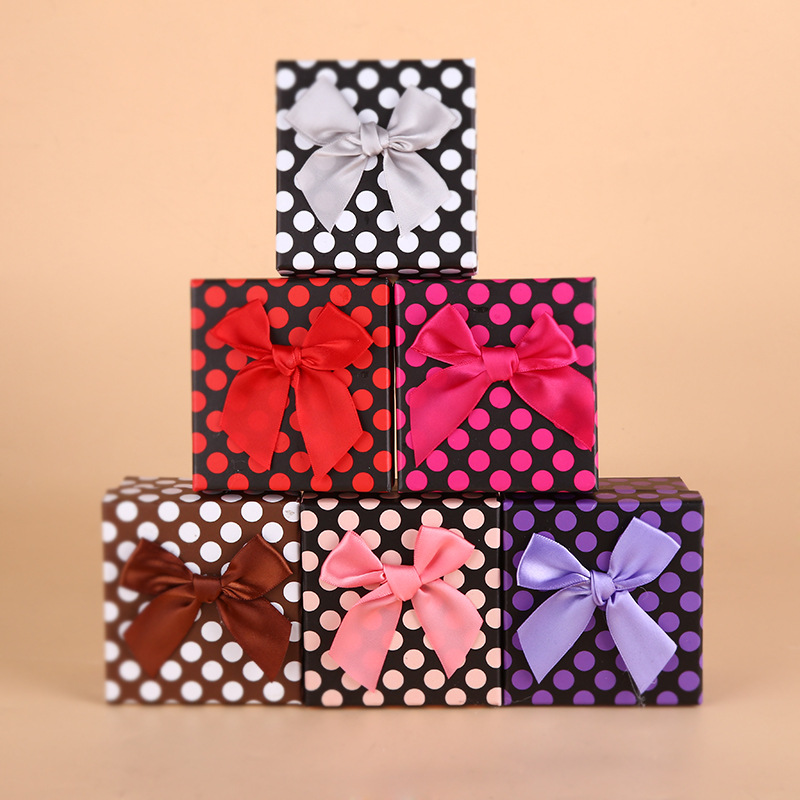DoreenBeads Random Color Dots Ribbon Bowtie Watch Box Jewelry gift Paper box 1 Piece 9*8.5*5.5cm