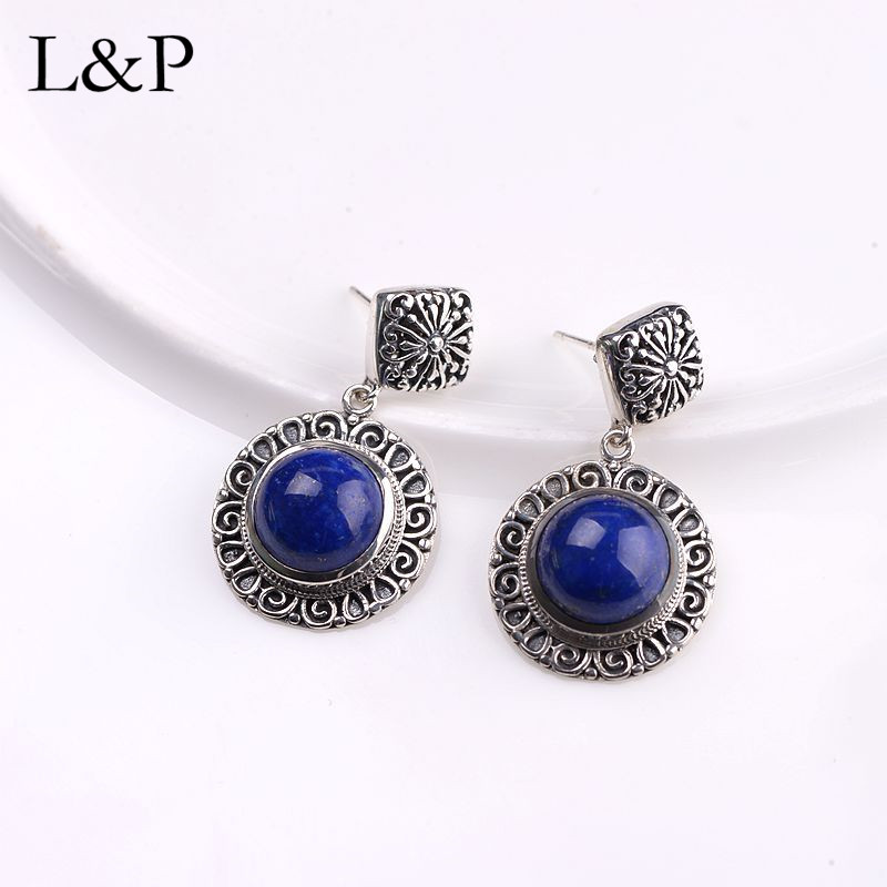 L P Fine Jewelry Drop Earrings Retro Vintage Natural Nepal Lapis Women Silver Bohemian Handmade Pierced
