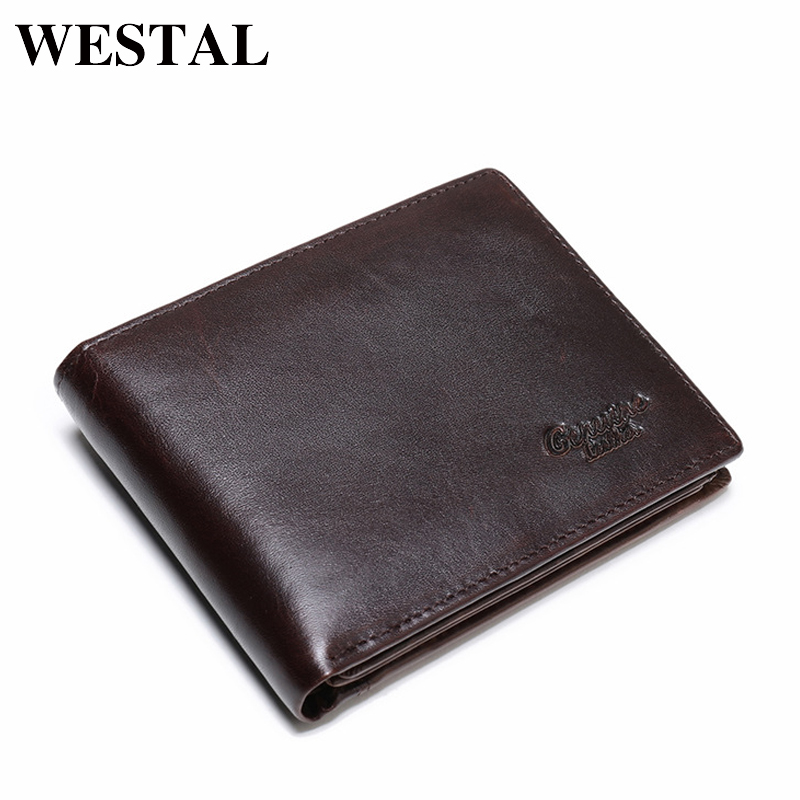 WESTAL Vintage Genuine Leather Men Wallets Leather Wallet Credit Card Man Purse Male Wallet Men's Small Wallets Card Holder 8866