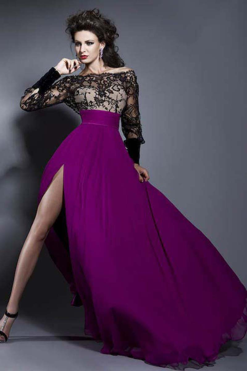Long sleeve purple evening dress - Dressed for less
