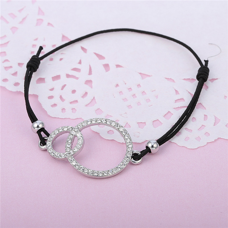 Simple Design Round Two Circles Crystal Charms Bracelet for Women Elastic Rope Adjustable Chain Bracelet Dropshipping 2018 new 18