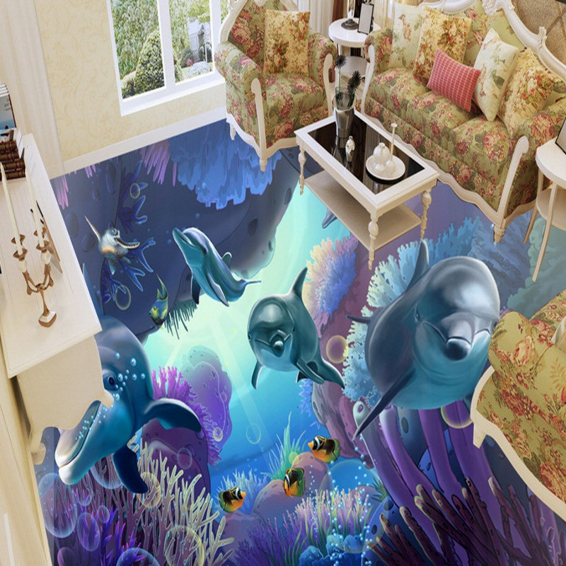 Free Shipping Underwater World Wallpaper Mural Background Wall kitchen self-adhesive PVC living room floor sticker