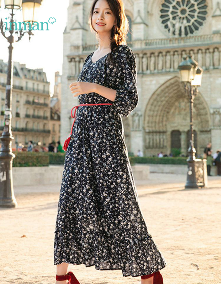 INMAN Spring V-neck Retro Literary Floral Print Defined Waist Slim Loose Women A-ling Long Dress