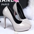 Nude color thin high heels pointed closed pumps with platform shallow mouth sandals women PU black gray red sexy wedding shoes