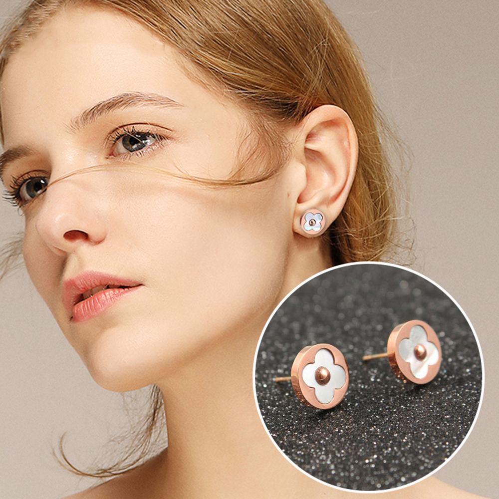 clover stud earrings 2019 for women female fashion jewelry korean kpop small stainless steel errings rose gold silver(China)