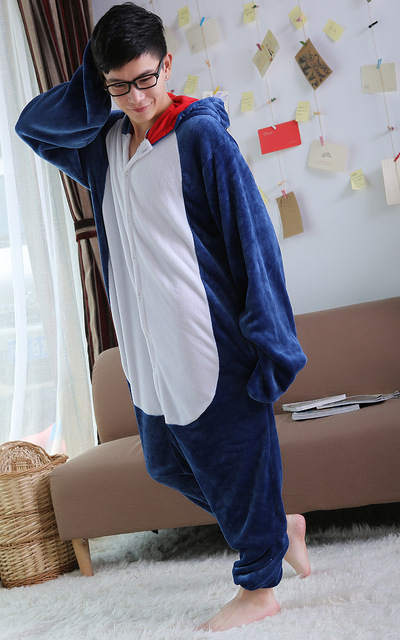2018 New Winter Unisex Adult Pajamas Blue Shark Onesie Sleepwear Cosplay Costume Animal Nightwear Onesie Sleepwear For Men Women