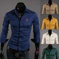 2017 longa-camisa de mangas compridas dos homens novos da forma dos homens de personalidade Magro ocasional longa-camisa de manga comprida camisas de marca Muaone 5029 MMHGFRR