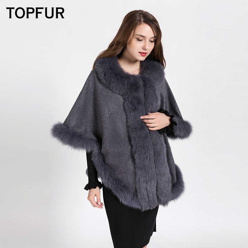TOPFUR 2018 Neue Ankunft Fashion Echtes Schals Mit Fuchs Pelz Kragen Luxus Fledermaus Ärmeln Capes Für Frauen Mit Top Qualität BF-C0493