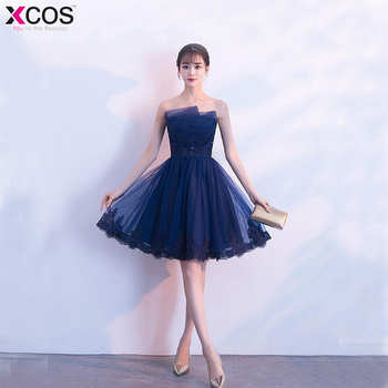 6eb603aa4 Vestidos graduacion 2018 baratos azul marino Homecoming vestidos foto Real  tul corto vestidos de graduación Vestido de fiesta Curto