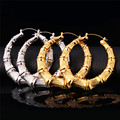 Fashion Big Bamboo Earrings Yellow Gold Plated For Women Chic Statement Jewelry Grain Basket Ball Wives Hoop Earrings E664