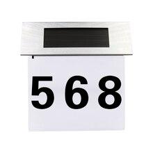 Солнечный светильник ed адрес знак номер дома из нержавеющей стали на солнечных батареях Уличное освещение Настенный светильник буквенно-цифровой номер светильник
