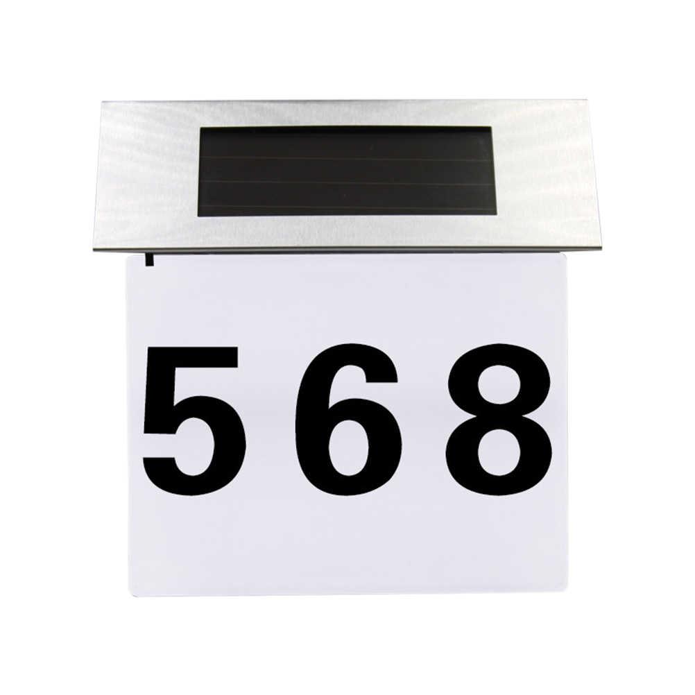Солнечный освещенные адрес знак номер дома Нержавеющаясталь солнечные уличного освещения настенный светильник буквенно-цифровой номер свет