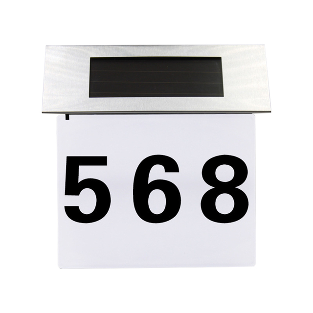 Solar Lighted Address Sign House Number Stainless Steel Ed Street Illumination Wall Lamp Alphanumeric Light