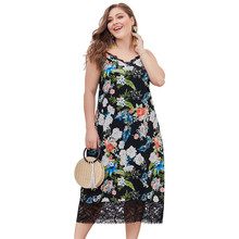 Women Dress Summer  Floral Overlap Spaghetti Strap Half Sleeves Print Beach Plus size