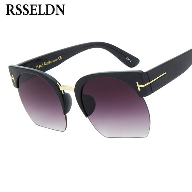 854401cb47 placeholder RSSELDN Newest Semi-Rimless Sunglasses Women Brand Designer  Clear Lens Sun Glasses For Women Fashion