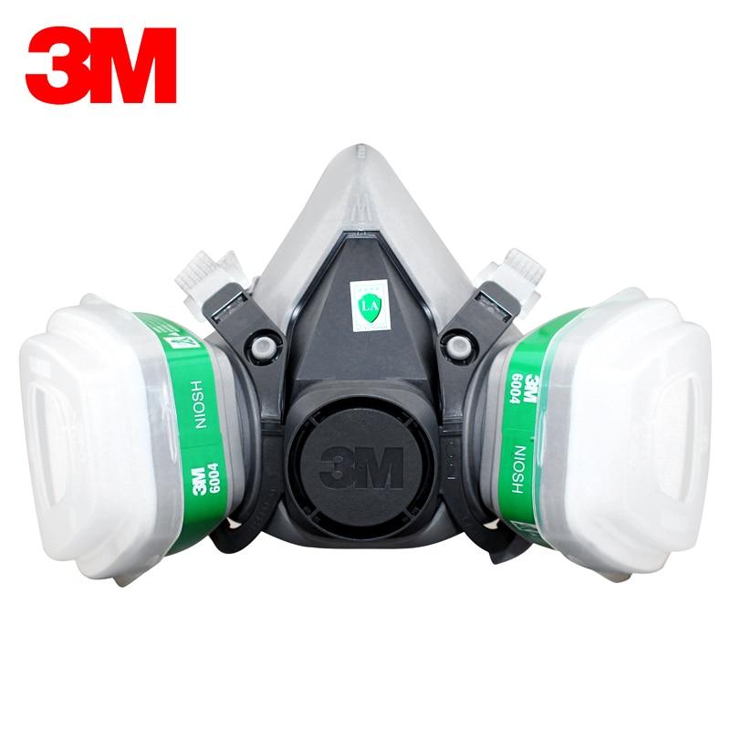 3M 6200+6004 Reusable Half Face Mask Respirator Ammonia Methylamine Organic Vapor Cartridge NIOSH&LA Standard LT048 3m 6200 reusable half face mask with 6057 respirator mask organic gases chlorine acid gas cartridge vapor lt147