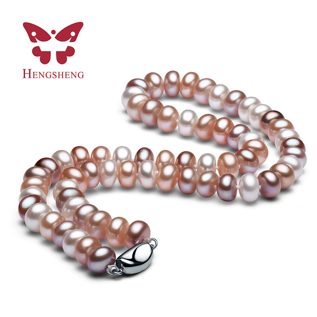 Genuine AAAA Natural Freshwater Pearl Necklaces For Mum, White Pink Purple Mix Big Pearl 9-10mm Bread Round Jewelry