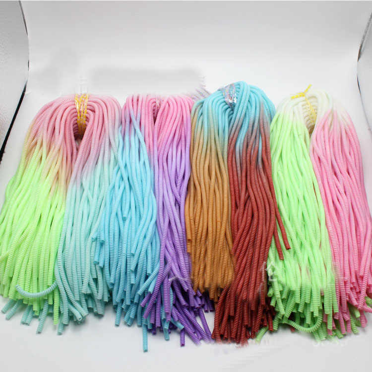 100Pcs 60CM Gradient Color Solid  TPU Spiral USB Charger Cable Cord Protector Wrap Cable Winder For iphone Samsung Hair Ring