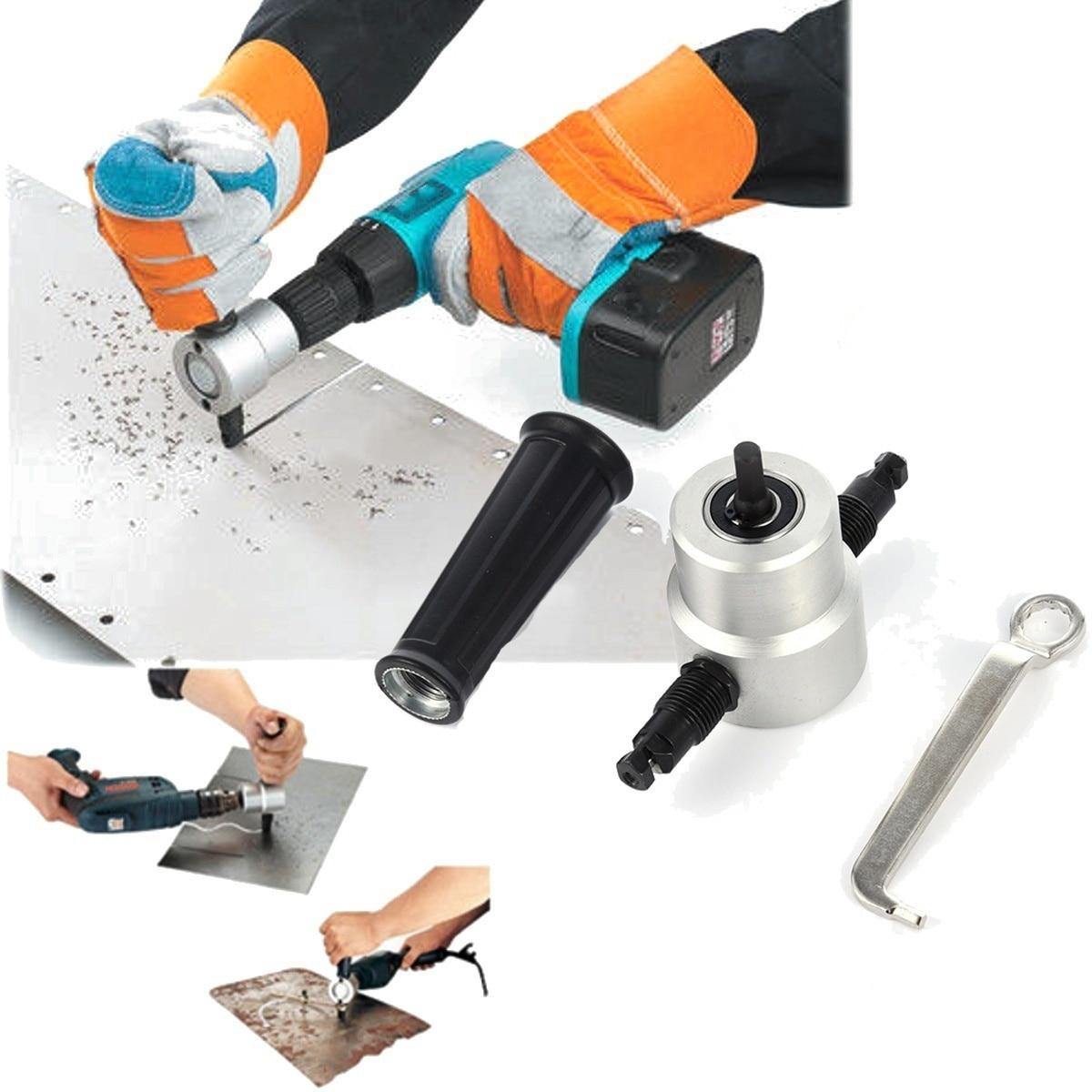 360 Degree Nibble Metal Cutting Double Head Sheet Nibbler Hole Saw Cutter Drill Tool Tackle Car Repair Metal Sheet Production
