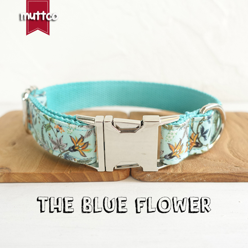100 pcs/lot MUTTCO wholesale creative fresh style dog collars THE BLUE FLOWER handmade adjustable dog collar 5 sizes UDC060