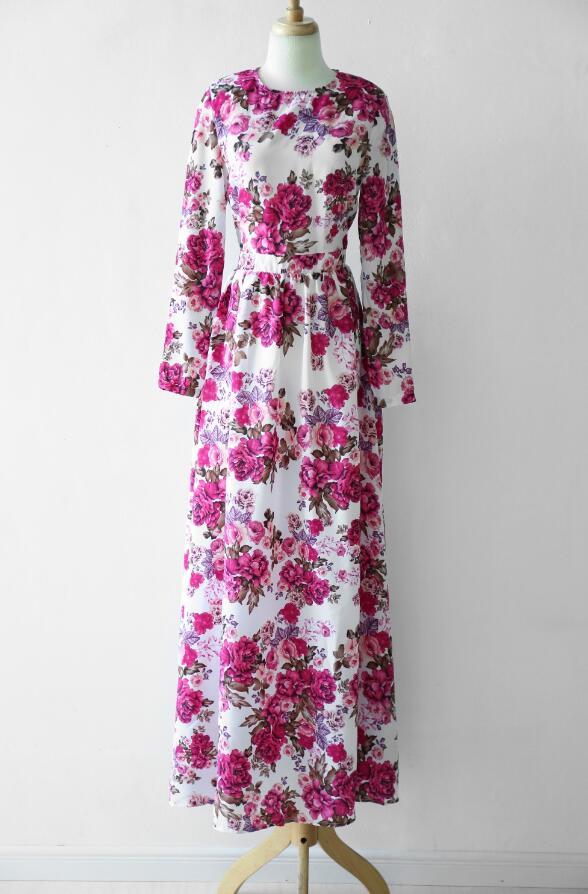 f949f5708ded Red Vintage Flower Print Party Long Dress – greatdress.net