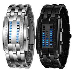 Splendid New Orologio Relógios Data Digital LED Pulseira de Aço Inoxidável dos homens de Luxo Esporte Relógios masculino Relógio relogio masculino