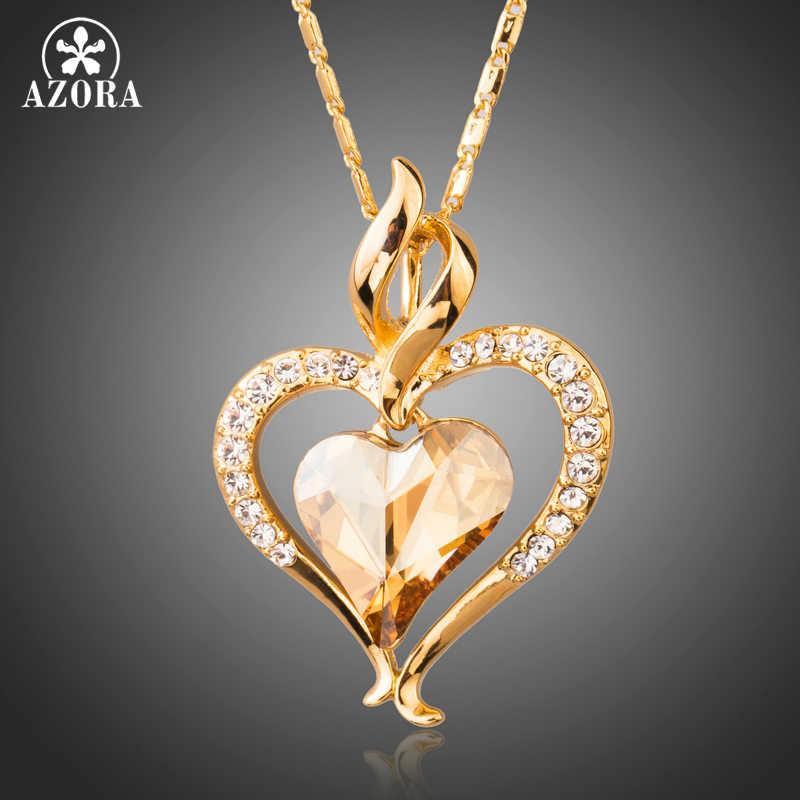 AZORA Long Link Chain Heart Austrian Crystal Gold Color Heart Pendant Necklace for Valentine's Day Gift of Love TN0204