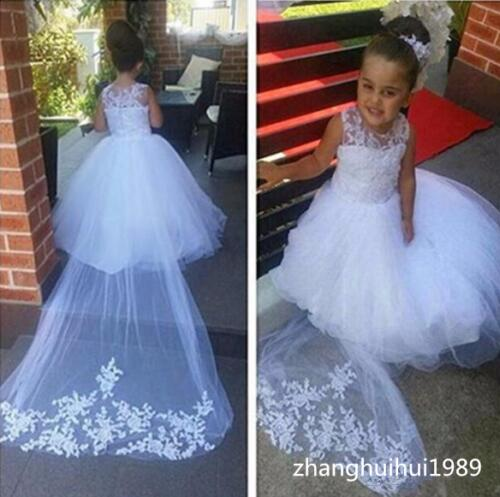 New White/Ivory Tulle Lace Wedding Flower Girl Dress Sweep Train Princess Gown