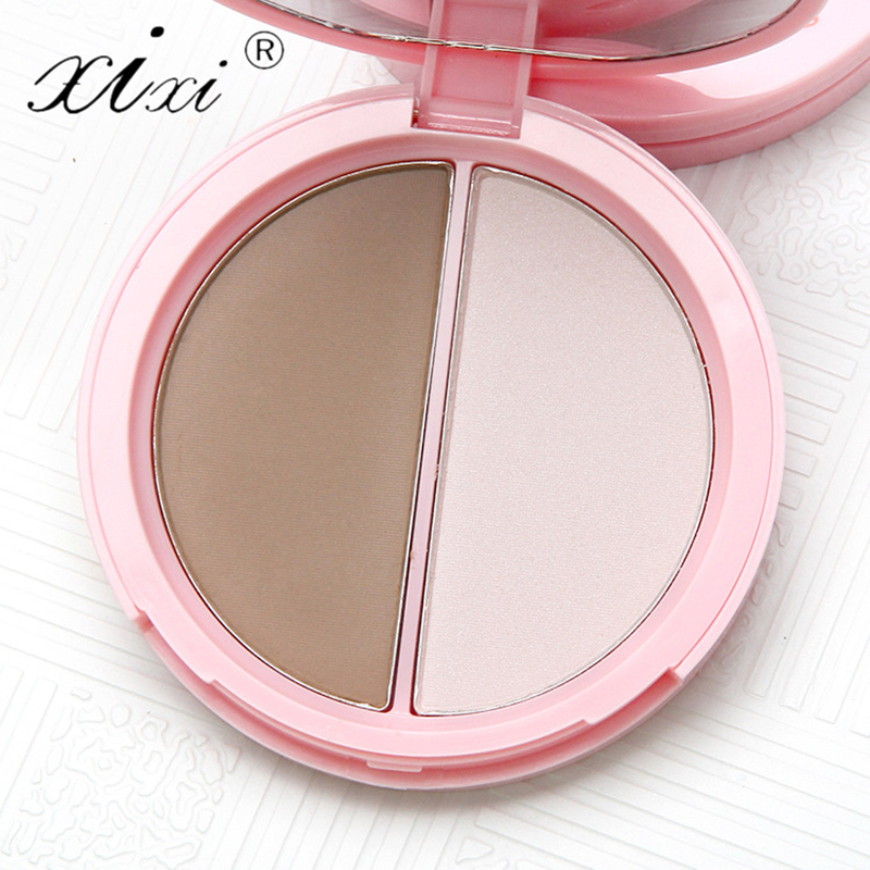 Brand XIXI 2 Colors Base Contour Pressed Powder Bronzer contouring white make up Highlighter highlight concealer Makeup Palette