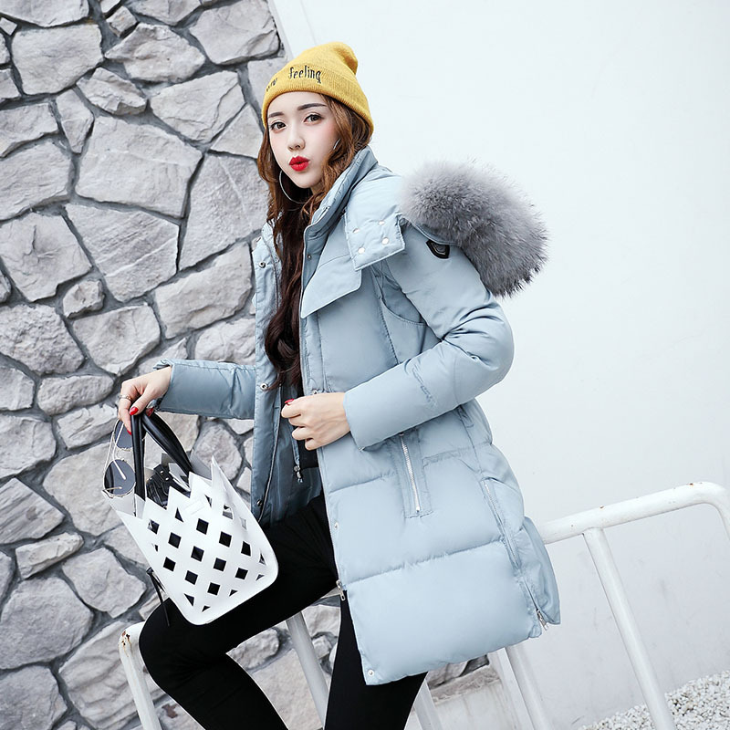 2017 Winter New Fashion Female Sky Blue Cotton-padded Hooded Long Parkas Coats Women Thick Warm Feathers Collar Zipper Jackets 2017 new fashion women long cotton coats size s 2xl hooded collar warm parkas winter black navy green color woman parkas qh0449