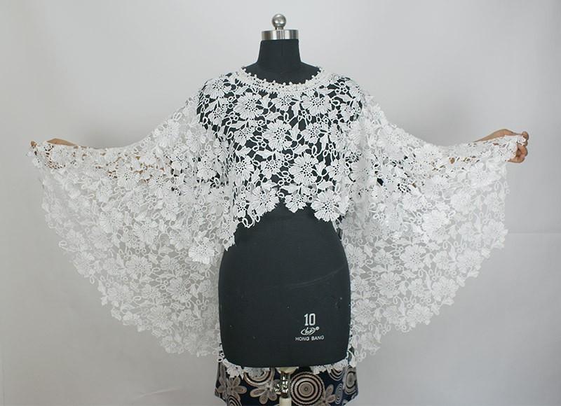 O Neck White Or Beige Lace Wedding Bolero De Renda Bridal Jackets 2015 One Piece Sleeveless Imported China (4)